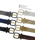 "7001 Men's Leather Covered Buckle Woven Elastic Stretch Belt 1-1/4"" Wide"