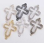 3pcs Crystal Rhinestone Paved Sideway Curved Cross Connectors for Bracelet