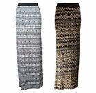 NEW BLACK WHITE MOCHA AZTEC TRIBAL PRINT LONG JERSEY MAXI SKIRT SIZE 8-14