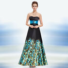 New Animal Print Long Strapless Maxi Evening Formal Prom Dress Ball Gown 09622