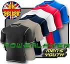 Baselayer Shirt Mens Boys Body Armour Compression Short Sleeve Thermal Under Top