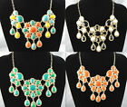 1pc Fashion Golden Chain Flower Resin Beads Petal Crystal Pendant Necklace