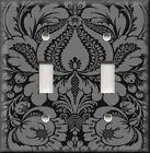 Light Switch Plate Cover - Floral Damask - Black And Grey - Home Decor