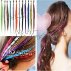 """10Pcs Grizzly Rainbow Synthetic Fiber Feather Hair Extensions 12 Colors 15"""""""