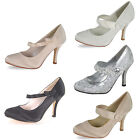 WOMENS PARTY LOW MID HEELS PROM WEDDING BRIDAL STILETTO PUMPS COURT SHOES SIZE