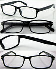 R363 Mens Black Plastic Reading Glasses/Spring Loaded Hinge/Modern Design