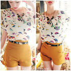 Womens Lady Girl Bird Graphic Print Batwing Dolman Chiffon Top Blouse Shirt