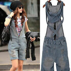 women fashion washed overalls hot denim shorts jumpsuit pants jeans