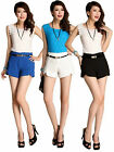Girls Candy Color  High Waist Career OL Casual Shorts Summer Hot pants with Belt