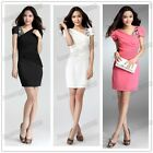 New Ladies' Overlay Sleeve Sheer short sleeve  Rhinestones Slim  Mini Dress