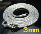 5Pcs 925Sterling Silver Snake Bone Chain Men Women Chain Necklace 3MM NY192
