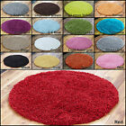 LARGE MEDIUM SMALL 5CM PILE THICK QUALITY PLAIN SOFT NON SHED CIRCLE ROUND RUGS