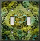 Light Switch Plate Cover - Bohemian Gypsy Damask - Home Decor - Green