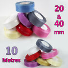 PRICE GUARANTEE - 20mm and 40mm 10 Metre Length of  Organza Chiffon Voile Ribbon