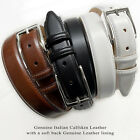 Adam Silver - Italian Calfskin Leather Designer Dress Belts for Men 1-1/8""