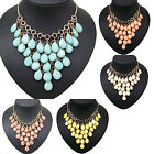 vintage style gold tone multi bubble teardrop fashion collar bib necklace