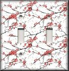 Light Switch Plate Cover - Red And Black Cherry Blossoms Flowers - Home Decor