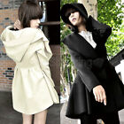 New Women Slim Long Sleeve Trench Coat Belted Overcoat Jacket Parka S-L Q405