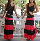 FOLD OVER WAIST BISCOT BLACK CORAL RED STRIPED COLOR LONG MAXI KNIT SKIRT S M L