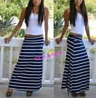 PLUS SIZE FOLD OVER WAIST NAVY BLUE WHITE LONG STRIPED MAXI SKIRT BOHO 1X 2X 3X