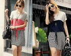Loose Batwing Stripe Plus Size O Neck Waist Tie Sleeve Patchwork Casual Dress