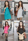 Womens Ladys Summer Dress Korean Cotton Off Shoulder Solid Color Loose Casual