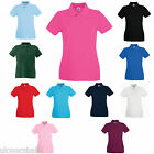 Fruit of the Loom Ladies  Premium 100% Cotton Polo T Shirt XS - XXL 11 Colours