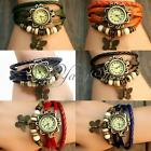Retro Leather Weave Wrap Leather Bangle Bracelet Quartz Wristband Wrist Watch
