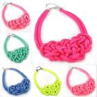 New Design Lady Outfit Bright Rope Weave Choker Short Bib Statement Necklace