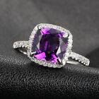Claw Prongs 14K White Gold 8mm VS Amethyst H/SI Diamonds Engagement Wedding Ring
