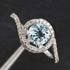 Claw Prongs 14K White Gold Natural Aquamarine Curved H/SI Diamonds Wedding Ring