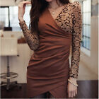 Women Hot V-Neck Floral Long Sleeve OL Bodycon Mini Dress Clubwear S M L XL [HA]
