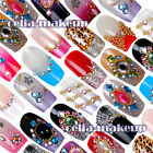 12PC Vintage Shiny Glitter Pre-Designed False Nail Art Acrylic deco Tips