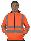 New Hi High Viz Vest Hoodie Hooded Top Jacket Work EN471 Orange Yellow S-3XL