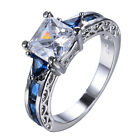 White&Blue Sapphire Gem 10KT White Gold Filled Wedding Party Ring Size6/7/8/9/10