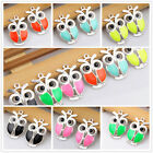 6pcs/18pcs/90pcs zinc alloy mix color owl pendants 1A1569