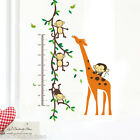 Cute Monkey Giraffe height Vine Wall Quote Wall Stickers Vinyl Decor Decals Home