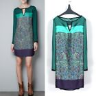 Vintage Womens Chiffon Long Sleeve Floral Print Crew Neck Casual Mini Dress