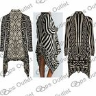 New Womens Front Open Waterfall Knitted Sweater Shawl Neck Ladies Long Cardigan