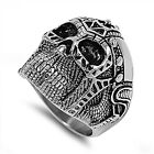 Solid Skull Head Stainless Steel Ring GOTHIC HALLOWEEN SIZES 7-18