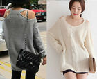 1pc Curved Slouchy Shoulder Cut Out V-neck Long Sleeved Jumper Knitted Sweater