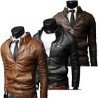 Synthetic Leather Men's Coat  Long Sleeve Jacket Faux Zippered 3colors 35DI