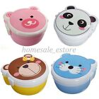 Microwaveable Plastic Cartoon Cute Double Layer Bento Lunch Meal Case Box Spoon