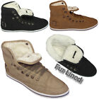LADIES ANKLE BOOTS GIRLS HI HIGH TOP TRAINER FUR LINED WINTER FLAT SHOES SIZE uk