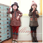 Girls Kids Chic Stripe Long Sleeve Top Dress + Bowknot Leggings 2PCS Sets Outfit