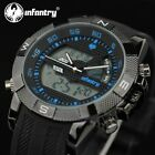 US INFANTRY Mens Army Tactical Sport Dual CHRONO Quartz Wrist Watch Black Rubber