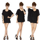 Sexy  Womens Hollow Out Lace Chiffon Batwing Sleeve Loose Shirt Tops Blouse