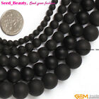 Round Black Brazil Smooth Agate Gemstone Jewelry Making Loose Beads Strand 15""