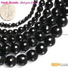 Jewelry Making Loose round black faceted agate gemstone beads strand 15""
