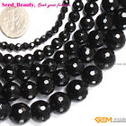 """Jewelry Making Loose round black faceted agate gemstone beads strand 15"""""""